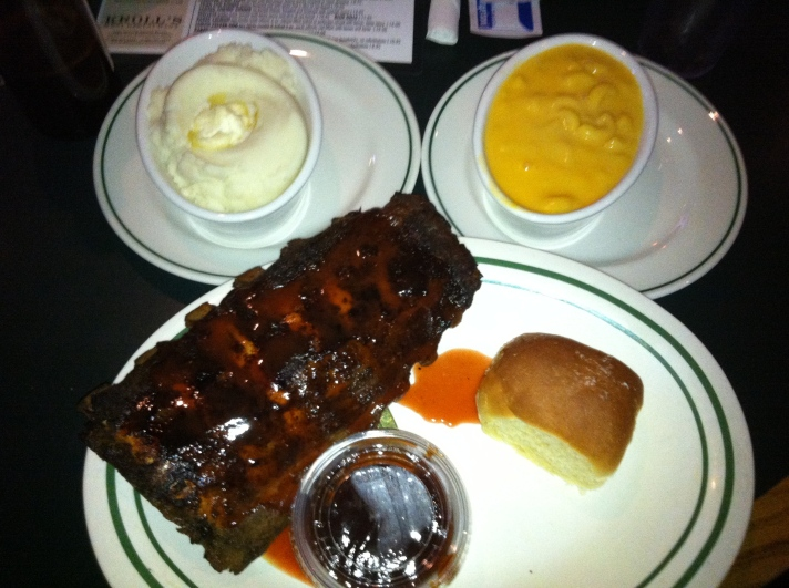 Ribs, Mashed Potatoes, and Mac and Cheese at Kroll's